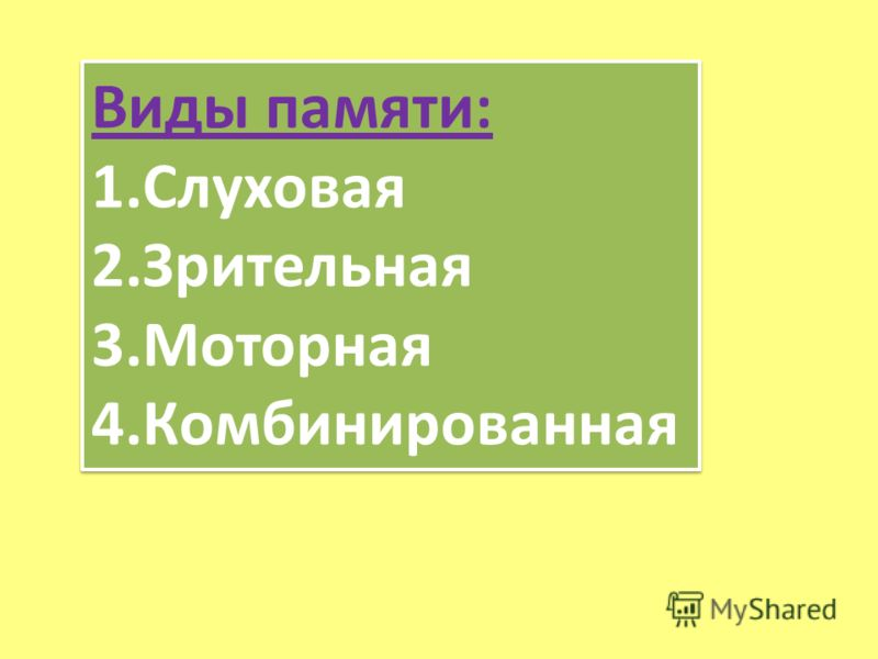 Виды памяти: 1.Слуховая 2.Зрительная 3.Моторная 4.Комбинированная Виды памяти: 1.Слуховая 2.Зрительная 3.Моторная 4.Комбинированная