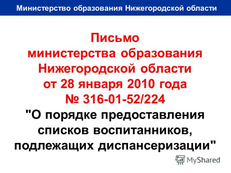 Министерство образования Нижегородской области Письмо министерства образования Нижегородской области от 28 января 2010 года 316-01-52/224 О порядке предоставления списков воспитанников, подлежащих диспансеризации