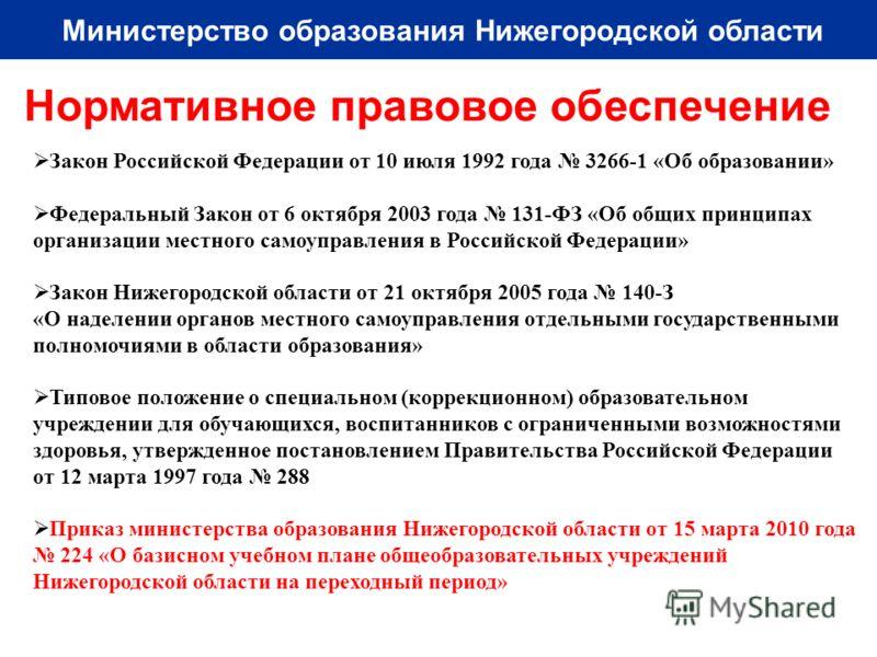 Министерство образования Нижегородской области Нормативное правовое обеспечение Закон Российской Федерации от 10 июля 1992 года 3266-1 «Об образовании» Федеральный Закон от 6 октября 2003 года 131-ФЗ «Об общих принципах организации местного самоуправ