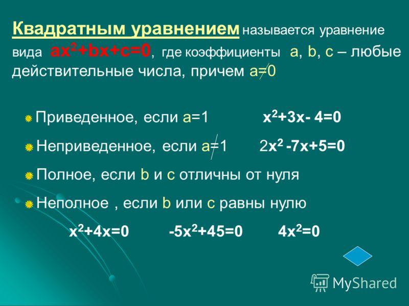 Квадратным уравнением называется уравнение вида ax 2 +bx+c=0, где коэффициенты a, b, c – любые действительные числа, причем а=0 Приведенное, если а=1 x 2 +3x- 4=0 Неприведенное, если а=1 2x 2 -7x+5=0 Полное, если b и с отличны от нуля Неполное, если
