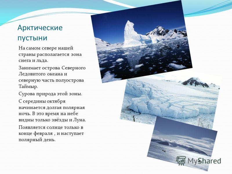 Арктические пустыни На самом севере нашей страны располагается зона снега и льда. Занимает острова Северного Ледовитого океана и северную часть полуострова Таймыр. Сурова природа этой зоны. С середины октября начинается долгая полярная ночь. В это вр