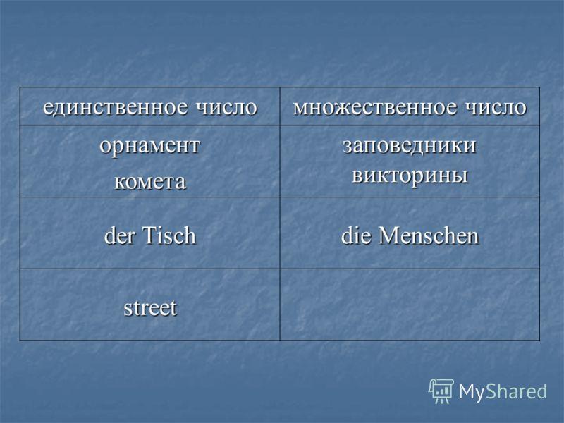 единственное число множественное число орнаменткометазаповедникивикторины der Tisch die Menschen street