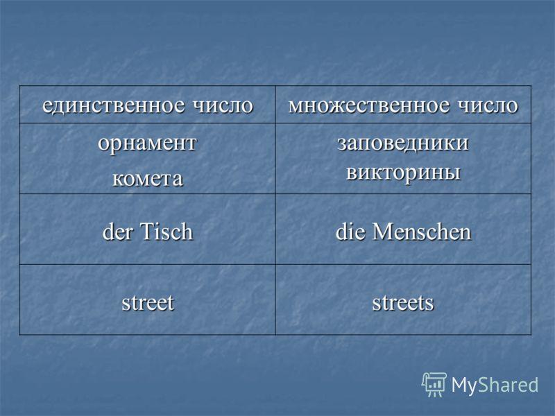 единственное число множественное число орнаменткометазаповедникивикторины der Tisch die Menschen streetstreets