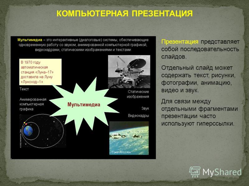 КОМПЬЮТЕРНАЯ ПРЕЗЕНТАЦИЯ Презентация представляет собой последовательность слайдов. Отдельный слайд может содержать текст, рисунки, фотографии, анимацию, видео и звук. Для связи между отдельными фрагментами презентации часто используют гиперссылки.