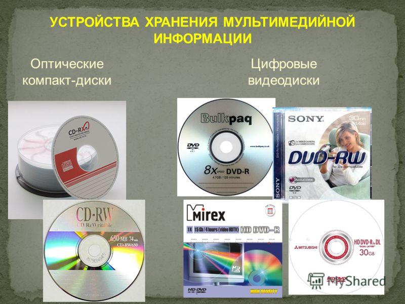 УСТРОЙСТВА ХРАНЕНИЯ МУЛЬТИМЕДИЙНОЙ ИНФОРМАЦИИ Оптические компакт-диски Цифровые видеодиски