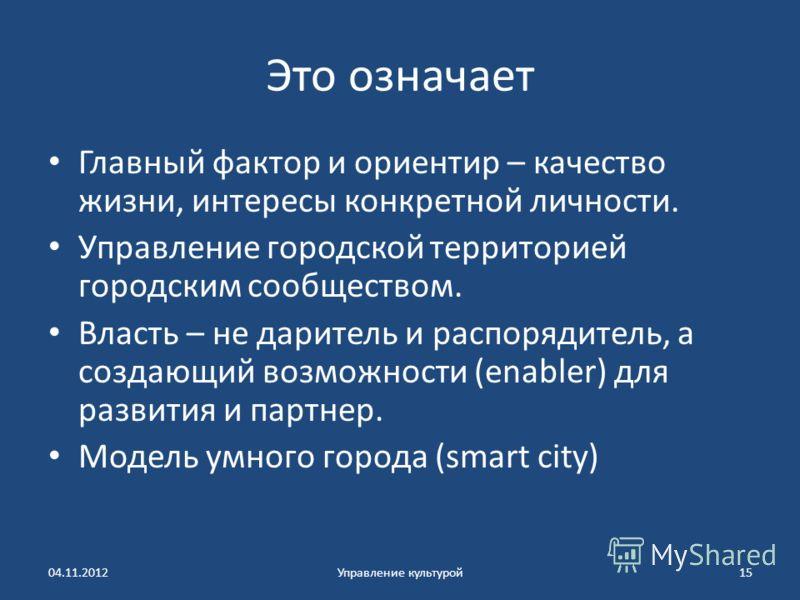 Это означает Главный фактор и ориентир – качество жизни, интересы конкретной личности. Управление городской территорией городским сообществом. Власть – не даритель и распорядитель, а создающий возможности (enabler) для развития и партнер. Модель умно