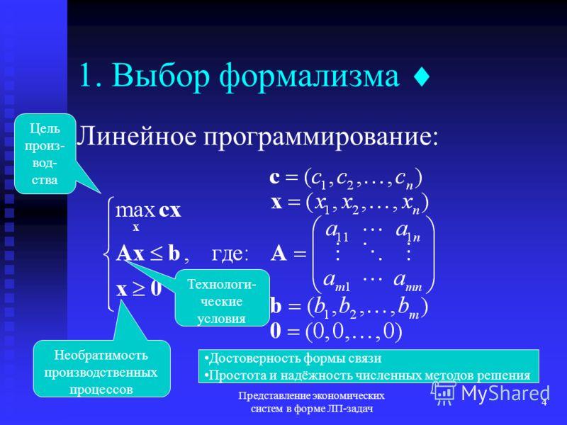 Представление экономических систем в форме ЛП-задач 4 1. Выбор формализма Линейное программирование: Технологи- ческие условия Цель произ- вод- ства Необратимость производственных процессов Достоверность формы связи Простота и надёжность численных ме