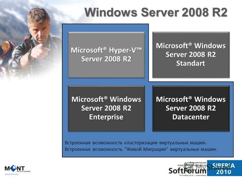 Встроенная возможность кластеризации виртуальных машин. Встроенная возможность Живой Миграции виртуальных машин. Windows Server 2008 R2