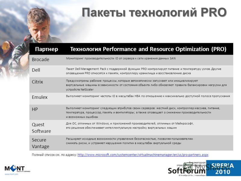 Пакеты технологий PRO Партнер Технология Performance and Resource Optimization (PRO) Brocade Мониторинг производительности IO от сервера к сети хранения данных SAN Dell Пакет Dell Management Pack с поддержкой функции PRO контролирует питание и темпер