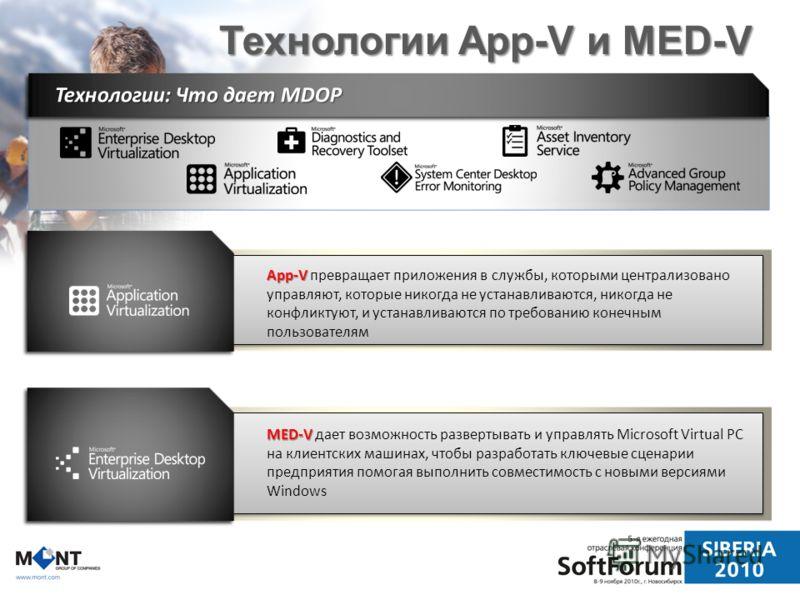 Технологии App-V и MED-V App-V App-V превращает приложения в службы, которыми централизовано управляют, которые никогда не устанавливаются, никогда не конфликтуют, и устанавливаются по требованию конечным пользователям MED-V MED-V дает возможность ра