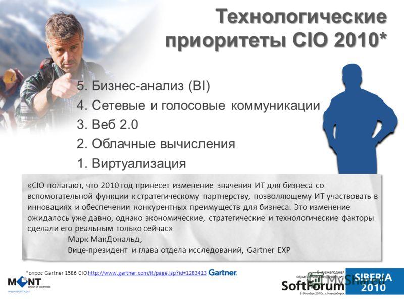 Технологические приоритеты CIO 2010* 5.Бизнес-анализ (BI) 4.Сетевые и голосовые коммуникации 3.Веб 2.0 2.Облачные вычисления 1.Виртуализация *опрос Gartner 1586 CIO http://www.gartner.com/it/page.jsp?id=1283413http://www.gartner.com/it/page.jsp?id=12