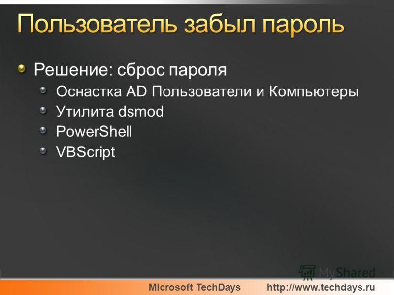 Решение: сброс пароля Оснастка AD Пользователи и Компьютеры Утилита dsmod PowerShell VBScript