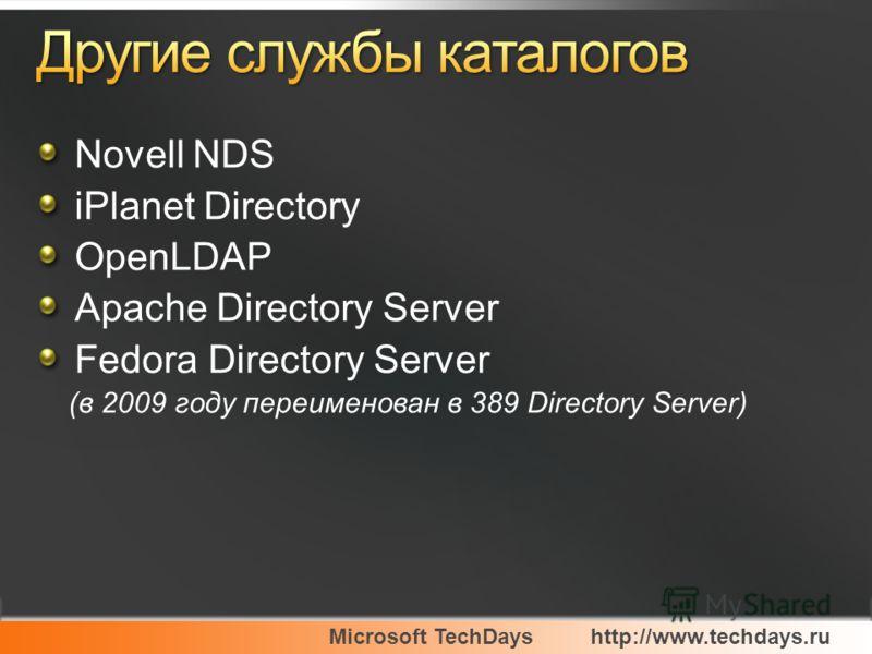 Microsoft TechDayshttp://www.techdays.ru Novell NDS iPlanet Directory OpenLDAP Apache Directory Server Fedora Directory Server (в 2009 году переименован в 389 Directory Server)