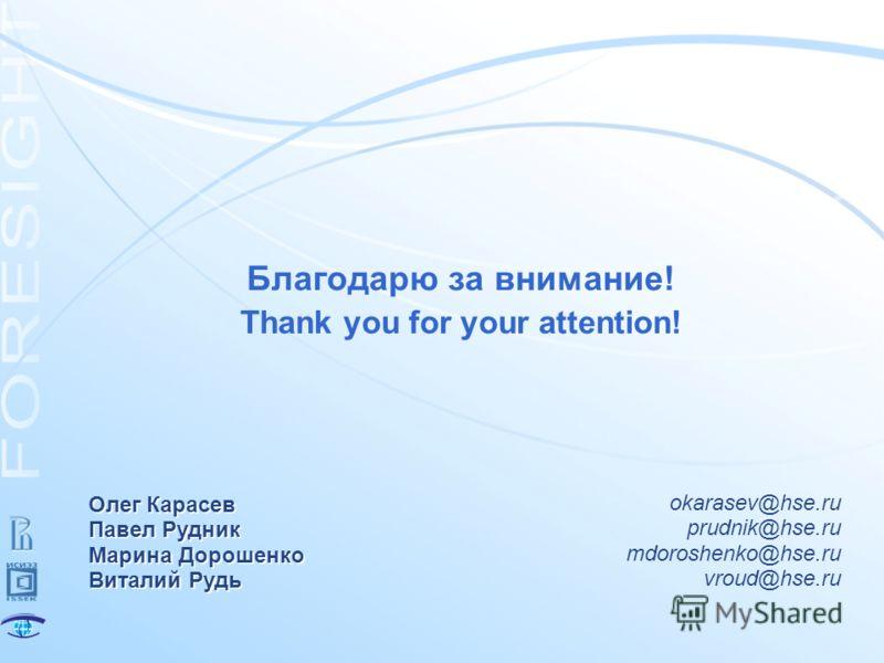 Благодарю за внимание! Thank you for your attention! Олег Карасев Павел Рудник Марина Дорошенко Виталий Рудь okarasev@hse.ru prudnik@hse.ru mdoroshenko@hse.ru vroud@hse.ru