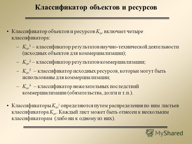 Классификатор объектов и ресурсов Классификатор объектов и ресурсов K or включает четыре классификатора: –K or 1 – классификатор результатов научно-технической деятельности (исходных объектов для коммерциализации); –K or 2 – классификатор результатов