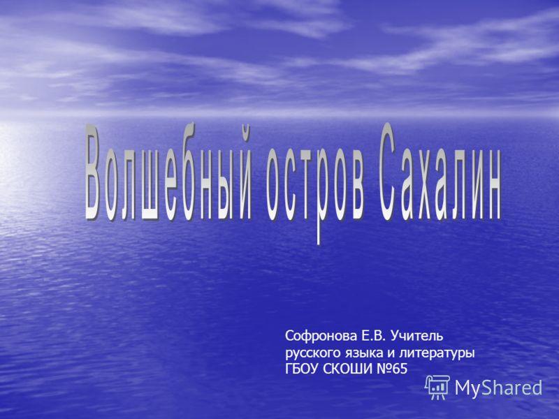 Софронова Е.В. Учитель русского языка и литературы ГБОУ СКОШИ 65