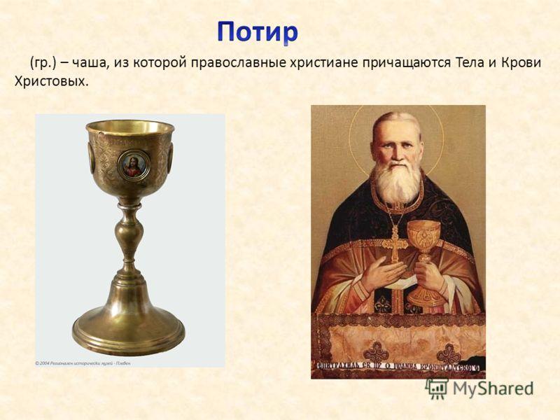 (гр.) – чаша, из которой православные христиане причащаются Тела и Крови Христовых.