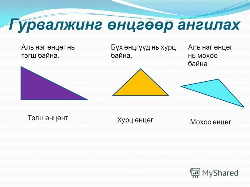Гурвалжинг өнцгөөр ангилах Тэгш өнцөнт Аль нэг өнцөг нь тэгш байна. Бүх өнцгүүд нь хурц байна. Хурц өнцөг Аль нэг өнцөг нь мохоо байна. Мохоо өнцөг