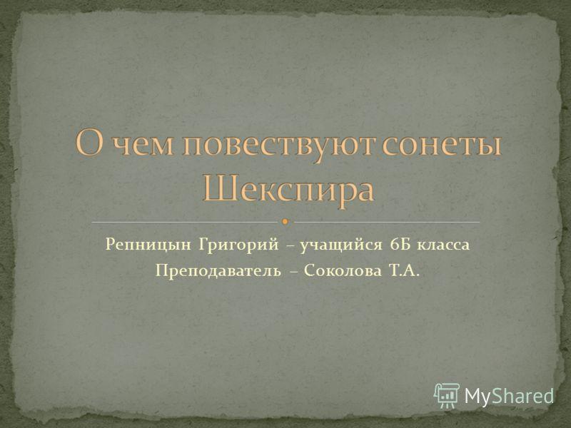 Репницын Григорий – учащийся 6Б класса Преподаватель – Соколова Т.А.