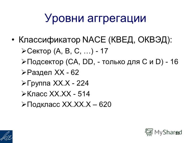 Уровни аггрегации Классификатор NACE (КВЕД, ОКВЭД): Сектор (А, B, C, …) - 17 Подсектор (CA, DD, - только для С и D) - 16 Раздел XX - 62 Группа XX.X - 224 Класс XX.XX - 514 Подкласс XX.XX.X – 620 38
