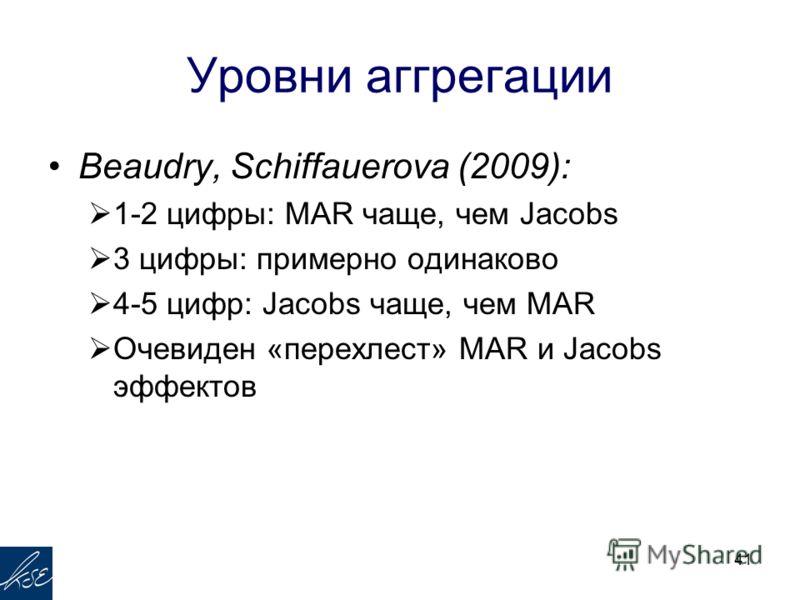 Уровни аггрегации Beaudry, Schiffauerova (2009): 1-2 цифры: MAR чаще, чем Jacobs 3 цифры: примерно одинаково 4-5 цифр: Jacobs чаще, чем MAR Очевиден «перехлест» MAR и Jacobs эффектов 41