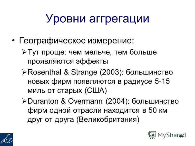 Уровни аггрегации Географическое измерение: Тут проще: чем мельче, тем больше проявляются эффекты Rosenthal & Strange (2003): большинство новых фирм появляются в радиусе 5-15 миль от старых (США) Duranton & Overmann (2004): большинство фирм одной отр