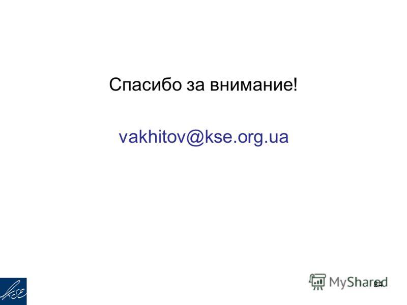 Спасибо за внимание! vakhitov@kse.org.ua 84
