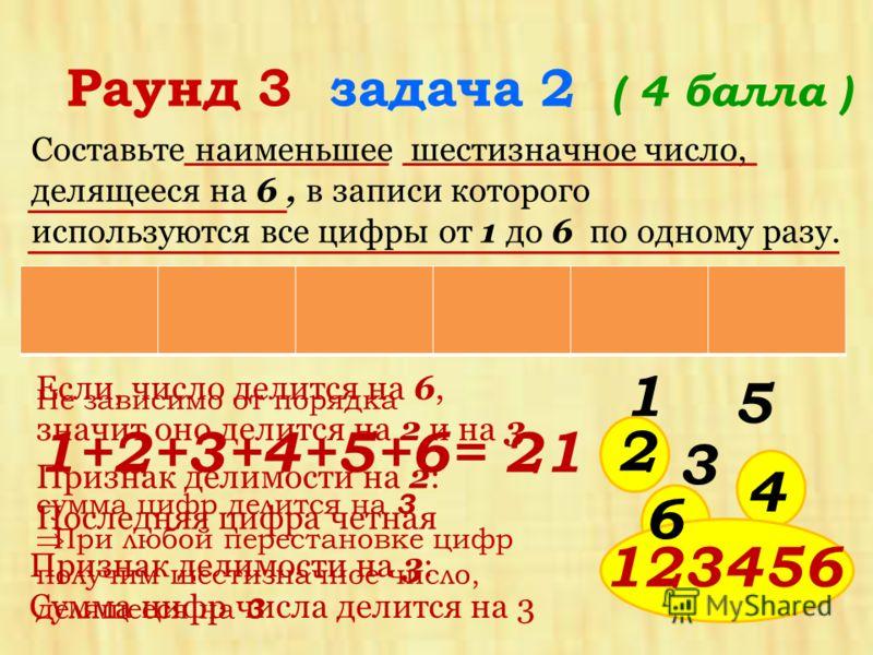 Составьте наименьшее шестизначное число, делящееся на 6, в записи которого используются все цифры от 1 до 6 по одному разу. Раунд 3 задача 2 ( 4 балла ) Если, число делится на 6, значит оно делится на 2 и на 3 Не зависимо от порядка 1+2+3+4+5+6= 21 с