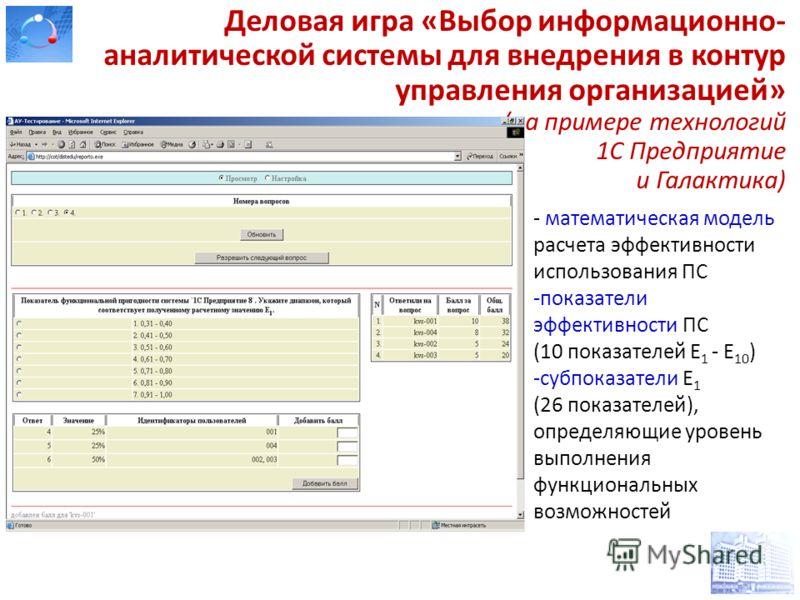 Деловая игра «Выбор информационно- аналитической системы для внедрения в контур управления организацией» (на примере технологий 1С Предприятие и Галактика) - математическая модель расчета эффективности использования ПС -показатели эффективности ПС (1