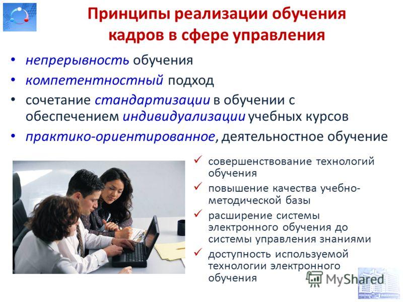 Принципы реализации обучения кадров в сфере управления непрерывность обучения компетентностный подход сочетание стандартизации в обучении с обеспечением индивидуализации учебных курсов практико-ориентированное, деятельностное обучение совершенствован