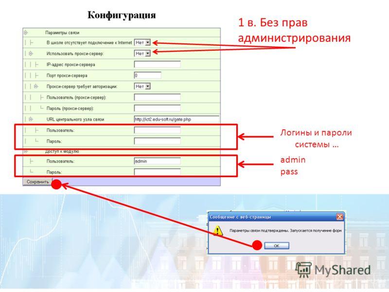 1 в. Без прав администрирования Логины и пароли системы … admin pass