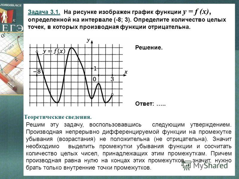 Задача 3.1. На рисунке изображен график функции y = f (x), определенной на интервале (-8; 3). Определите количество целых точек, в которых производная функции отрицательна. Решим эту задачу, воспользовавшись следующим утверждением. Производная непрер