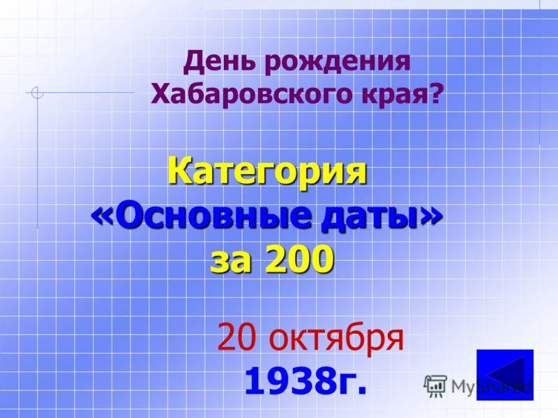 Сколько лет исполнится 20 октября Хабаровскому краю? Категория «Основные даты» за 100 73 года