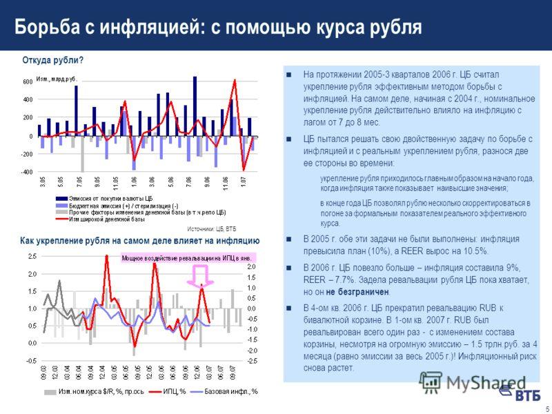 4 Обменный курс – рычаг экономической политики? n Для управления российской экономикой существует не так много рычагов. Важнейшие из них: административные и курсовые. В 2007-2010 гг. к ним добавятся гос.инвестиции. n ЦБ в еще 2004 г. публично отказал