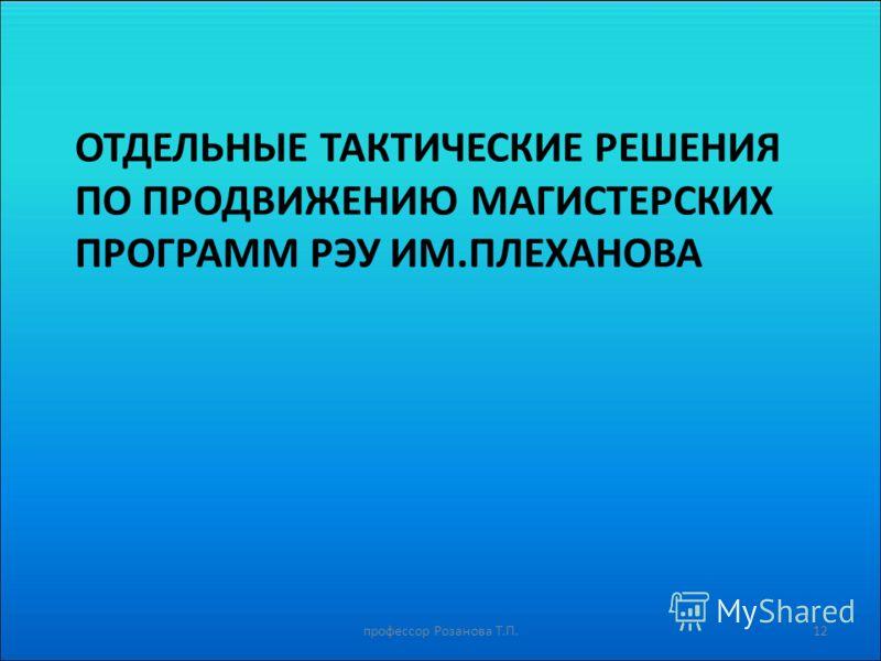 ОТДЕЛЬНЫЕ ТАКТИЧЕСКИЕ РЕШЕНИЯ ПО ПРОДВИЖЕНИЮ МАГИСТЕРСКИХ ПРОГРАММ РЭУ ИМ.ПЛЕХАНОВА профессор Розанова Т.П.12