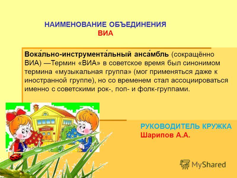 РУКОВОДИТЕЛЬ КРУЖКА Шарипов А.А. НАИМЕНОВАНИЕ ОБЪЕДИНЕНИЯ ВИА Вока́льно-инструмента́льный анса́мбль (сокращённо ВИА) Термин «ВИА» в советское время был синонимом термина «музыкальная группа» (мог применяться даже к иностранной группе), но со временем