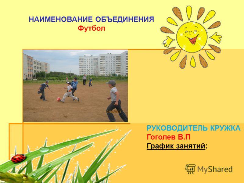 РУКОВОДИТЕЛЬ КРУЖКА Гоголев В.П График занятий: НАИМЕНОВАНИЕ ОБЪЕДИНЕНИЯ Футбол