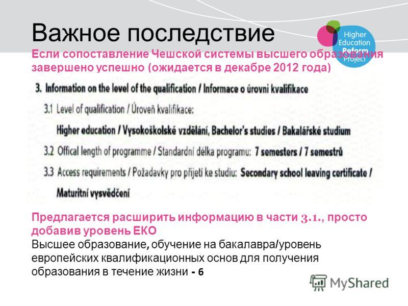 Важное последствие Если сопоставление Чешской системы высшего образования завершено успешно (ожидается в декабре 2012 года) Предлагается расширить информацию в части 3.1., просто добавив уровень ЕКО Высшее образование, обучение на бакалавра/уровень е