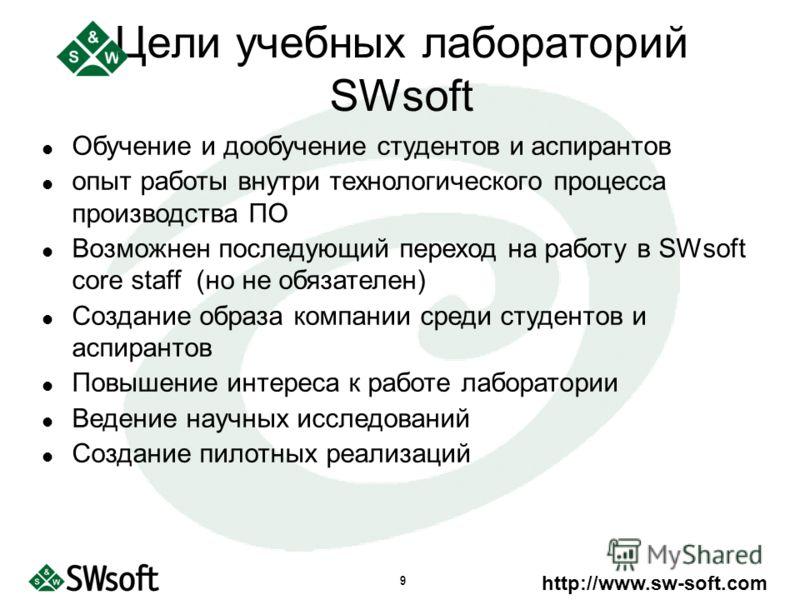 http://www.sw-soft.com 9 Обучение и дообучение студентов и аспирантов опыт работы внутри технологического процесса производства ПО Возможнен последующий переход на работу в SWsoft core staff (но не обязателен) Создание образа компании среди студентов