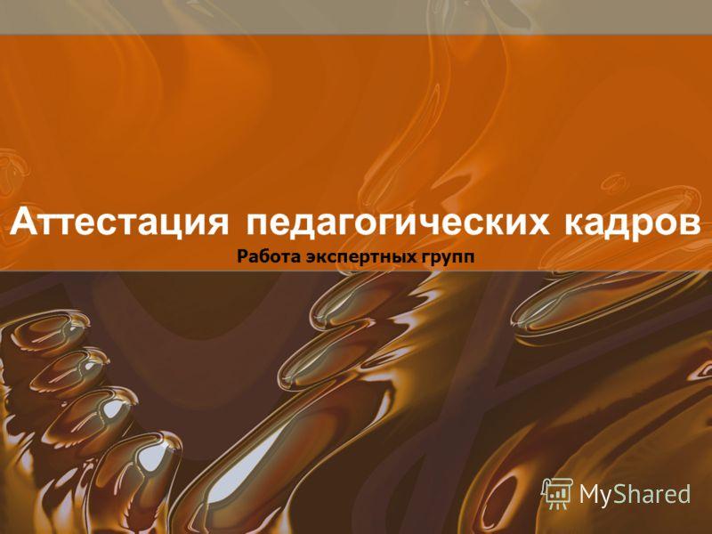 Работа экспертных групп Аттестация педагогических кадров
