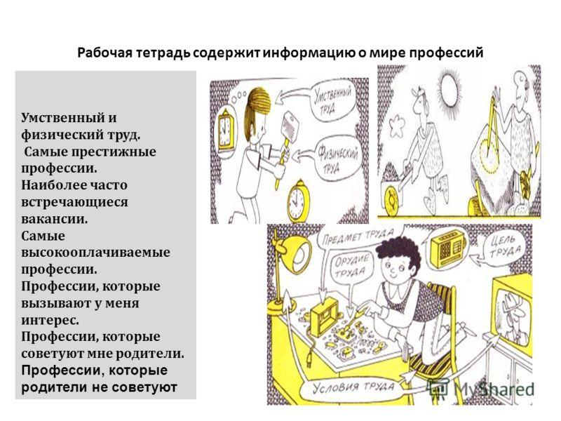 Рабочая тетрадь содержит информацию о