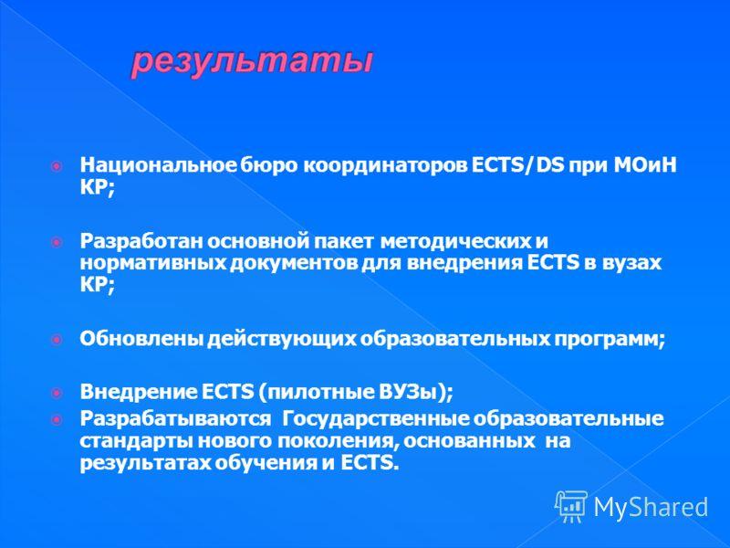 Национальное бюро координаторов ECTS/DS при МОиН КР; Разработан основной пакет методических и нормативных документов для внедрения ECTS в вузах КР; Обновлены действующих образовательных программ; Внедрение ECTS (пилотные ВУЗы); Разрабатываются Госуда