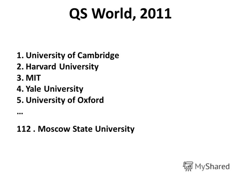 QS World, 2011 1.University of Cambridge 2.Harvard University 3.MIT 4.Yale University 5.University of Oxford … 112. Moscow State University