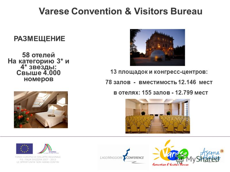 Varese Convention & Visitors Bureau РАЗМЕЩЕНИЕ 58 отелей На категорию 3* и 4* звезды: Свыше 4.000 номеров 13 площадок и конгресс-центров: 78 залов - вместимость 12.146 мест в отелях: 155 залов - 12.799 мест