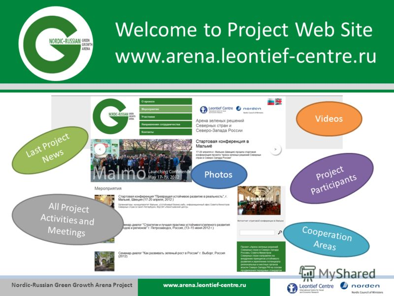 Nordic-Russian Green Growth Arena Projectwww.arena.leontief-centre.ru Welcome to Project Web Site www.arena.leontief-centre.ru Last Project News Videos All Project Activities and Meetings Photos Project Participants Cooperation Areas