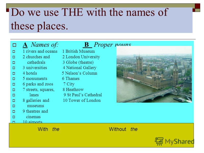 Do we use THE with the names of these places. A Names of: B Proper nouns 1 rivers and oceans 1 British Museum 2 churches and 2 London University cathedrals 3 Globe (theatre) 3 universities 4 National Gallery 4 hotels 5 Nelsons Column 5 monuments 6 Th