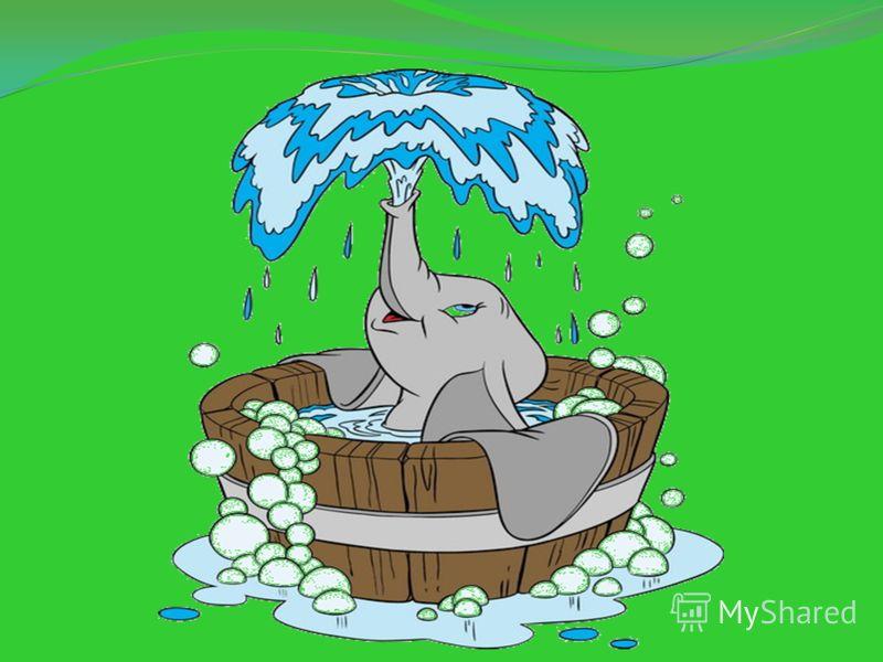 Еще один способ охладиться обдать себя водой, грязью или пылью. Слоны очень любят воду. Они много пьют, любят купаться и поиграть с водой. Слоны отличные пловцы. Когда слон плывет под водой, он высовывает конец хобота над ее поверхностью и дышит чере