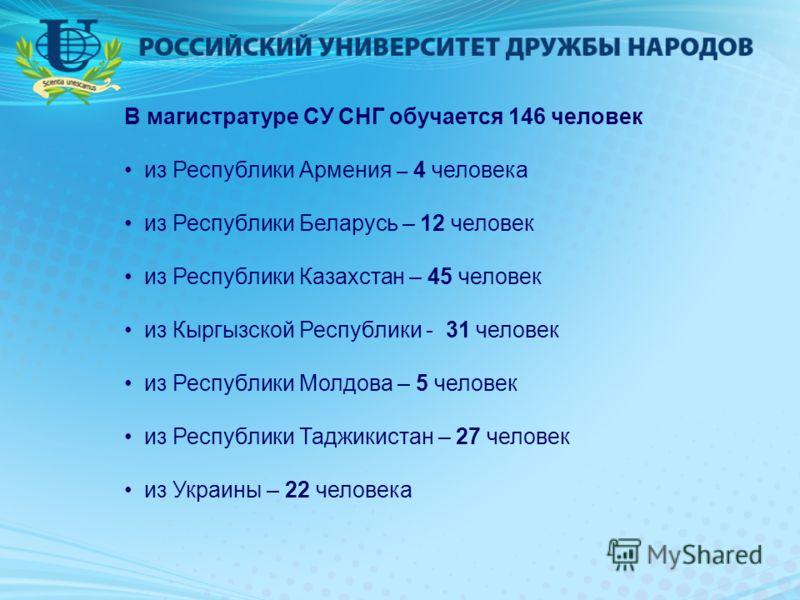 В магистратуре СУ СНГ обучается 146 человек из Республики Армения – 4 человека из Республики Беларусь – 12 человек из Республики Казахстан – 45 человек из Кыргызской Республики - 31 человек из Республики Молдова – 5 человек из Республики Таджикистан