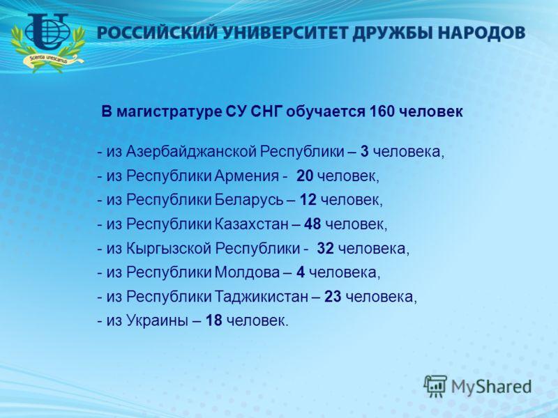 В магистратуре СУ СНГ обучается 160 человек - из Азербайджанской Республики – 3 человека, - из Республики Армения - 20 человек, - из Республики Беларусь – 12 человек, - из Республики Казахстан – 48 человек, - из Кыргызской Республики - 32 человека, -