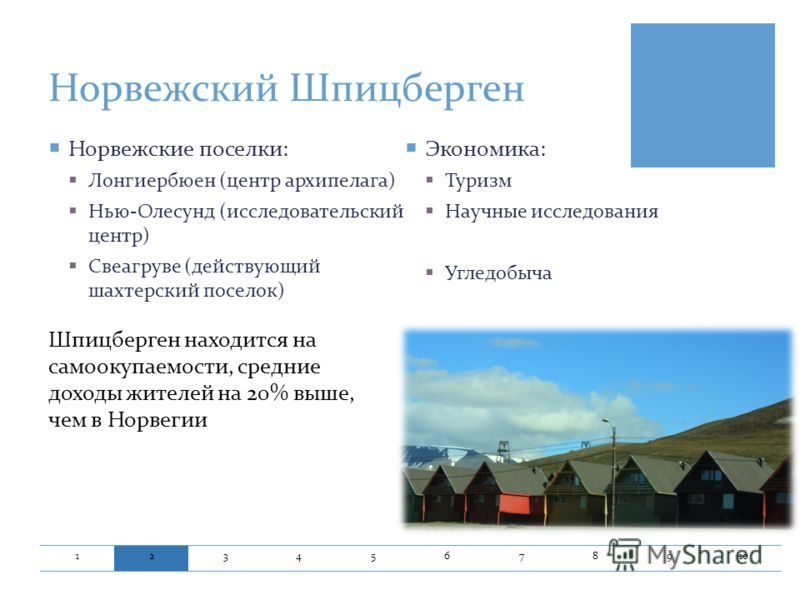 Норвежский Шпицберген 12345678910 Норвежские поселки : Лонгиербюен ( центр архипелага ) Нью - Олесунд ( исследовательский центр ) Свеагруве ( действующий шахтерский поселок ) Экономика : Туризм Научные исследования Угледобыча Шпицберген находится на